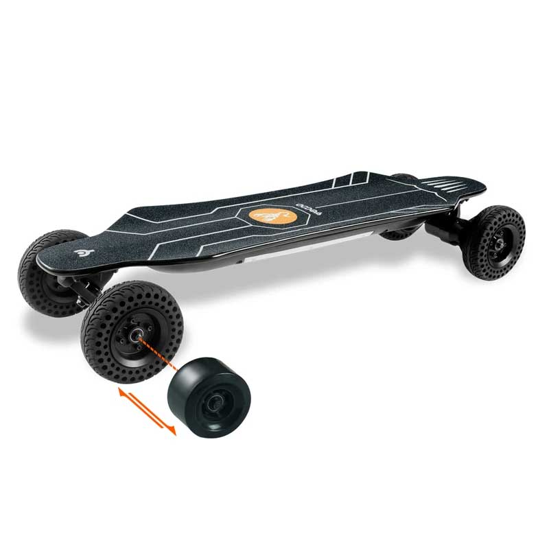 black yecoo all-terrain electric skateboard